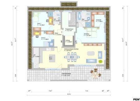 Wohnanlage in Oberlauter - Eigentumswohnung Penthouse - Grudriss Wohnung 7+14