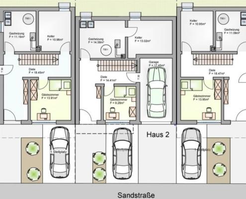 Reihenhäuser Sandstraße - Untergeschoss Parkplatz Garage
